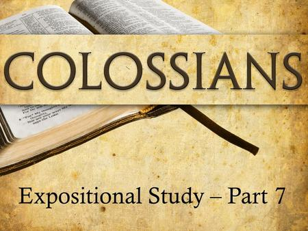 Expositional Study – Part 7. The Triumph of the Cross Text: Colossians 2:9-15 Sub Series: Colossians Expositional Study part 7 Series: Truth, Judgment.