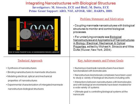 Integrating Nanostructures with Biological Structures Investigators: M. Stroscio, <strong>ECE</strong> and BioE; M. Dutta, <strong>ECE</strong> Prime Grant Support: ARO, NSF, AFOSR, SRC,