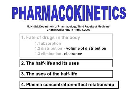 PHARMACOKINETICS 1. Fate of drugs in the body 1.1 absorption
