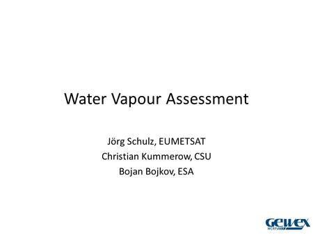 Water Vapour Assessment