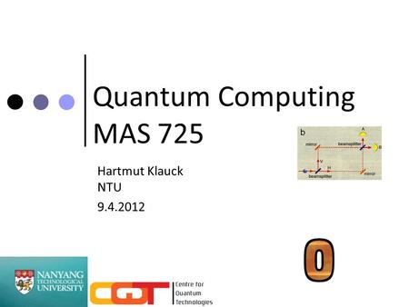 Quantum Computing MAS 725 Hartmut Klauck NTU 9.4.2012 TexPoint fonts used in EMF. Read the TexPoint manual before you delete this box.: A A A A.