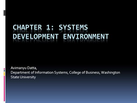 Avimanyu Datta, Department of Information Systems, College of Business, Washington State University.