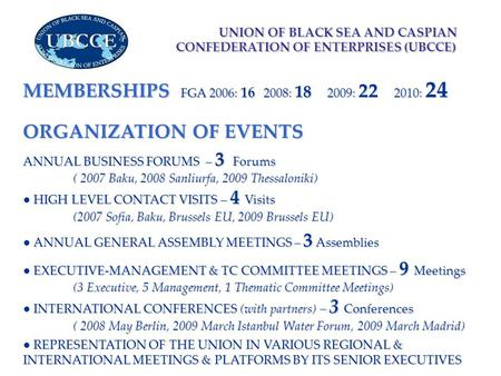 UNION OF BLACK SEA AND CASPIAN CONFEDERATION OF ENTERPRISES (UBCCE) UNION OF BLACK SEA AND CASPIAN CONFEDERATION OF ENTERPRISES (UBCCE) ORGANIZATION OF.