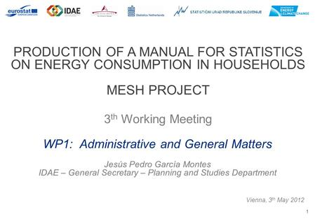 1 PRODUCTION OF A MANUAL FOR STATISTICS ON ENERGY CONSUMPTION IN HOUSEHOLDS MESH PROJECT 3 th Working Meeting Vienna, 3 th May 2012 WP1: Administrative.