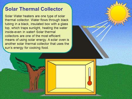 Solar Thermal Collector Solar Water heaters are one type of solar thermal collector. Water flows through black tubing in a black, insulated box with a.