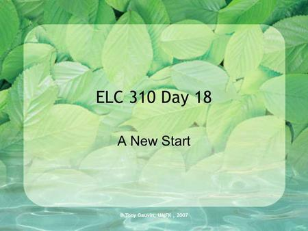 ® Tony Gauvin, UMFK, 2007 ELC 310 Day 18 A New Start.