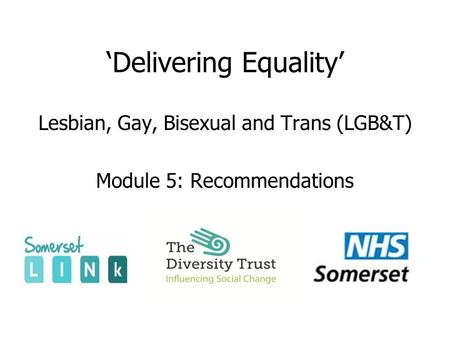 'Delivering Equality' Lesbian, Gay, Bisexual and Trans (LGB&T) Module 5: Recommendations.