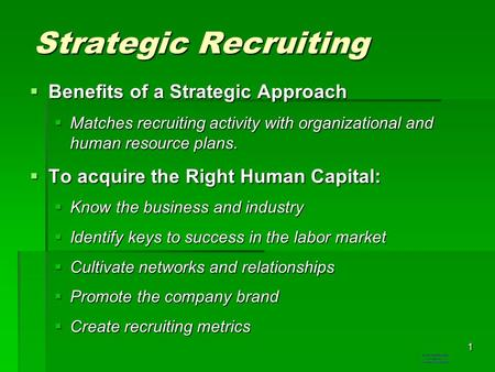 Strategic Recruiting Benefits of a Strategic Approach