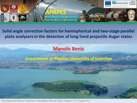 Manolis Benis Solid angle correction factors for hemispherical and two-stage parallel plate analysers in the detection of long lived projectile Auger states.
