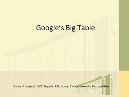 Google's Big Table 1 Source: Chang et al., 2006: Bigtable: A Distributed Storage System for Structured Data.