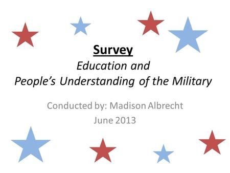 Survey Education and People's Understanding of the Military Conducted by: Madison Albrecht June 2013.