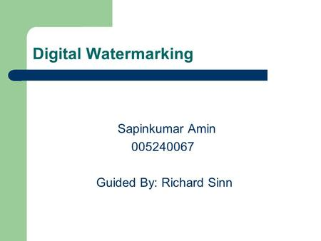 Digital Watermarking Sapinkumar Amin 005240067 Guided By: Richard Sinn.