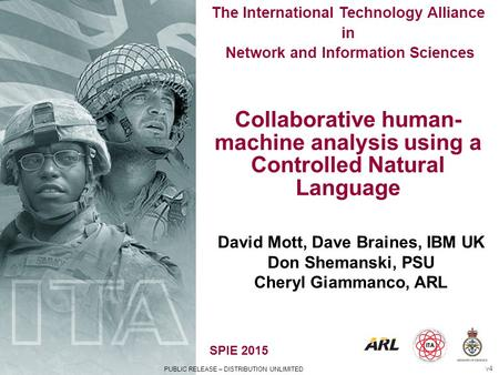 PUBLIC RELEASE – DISTRIBUTION UNLIMITED SPIE 2015 The International Technology Alliance in Network and Information Sciences Collaborative human- machine.