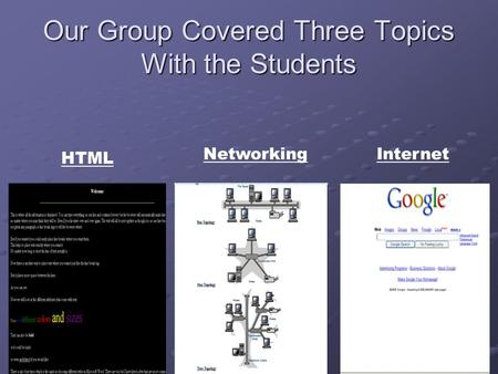 Our Group Covered Three Topics With the Students HTML NetworkingInternet.