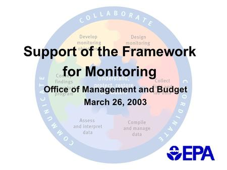 Support of the Framework for Monitoring Office of Management and Budget March 26, 2003.