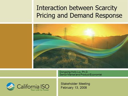 Stakeholder Meeting February 13, 2008 Interaction between Scarcity Pricing and Demand Response Dongqing Holly Liu, Ph.D. Senior Market and Product Economist.