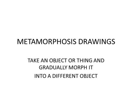 METAMORPHOSIS DRAWINGS TAKE AN OBJECT OR THING AND GRADUALLY MORPH IT INTO A DIFFERENT OBJECT.
