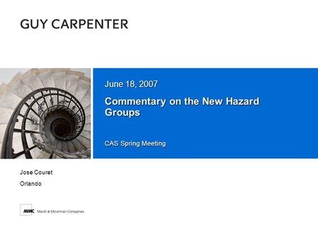 CAS Spring Meeting Commentary on the New Hazard Groups June 18, 2007 Jose Couret Orlando.