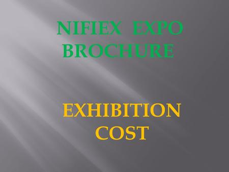 NIFIEX EXPO BROCHURE EXHIBITION COST. SHELL SCHEME - N200,000 9 SQR. METRES PARTIONING COMPANY NAME ON FASCIA 1 TABLE 2 CHAIRS 1 SOCKET FOR ELECTRICAL.