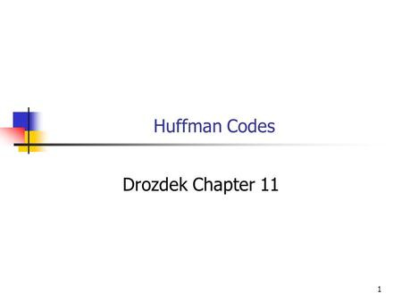 1 Huffman Codes Drozdek Chapter 11. 2 Objectives You will be able to Construct an optimal variable bit length code for an alphabet with known probability.