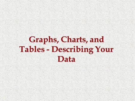 Graphs, Charts, and Tables - Describing Your Data ©