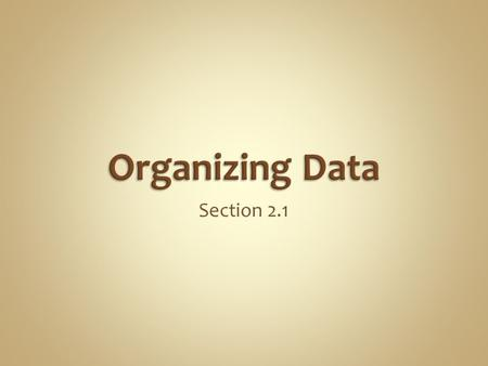 Section 2.1. A frequency distribution lists each category of data and the number of occurrences for each category of data. Let use an example and build.