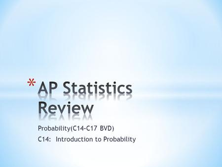Probability(C14-C17 BVD) C14: Introduction to Probability.
