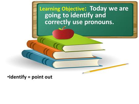 Learning Objective : Today we are going to identify and correctly use pronouns. Identify = point out.
