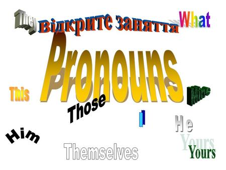 Pronouns replace nouns Pronouns come in many different varieties.