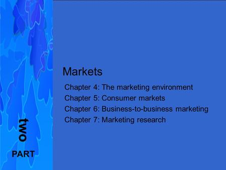 Principles of Marketing FIFTH EUROPEAN EDITION Kotler, Armstrong, Wong, Saunders Markets Chapter 4: The marketing environment Chapter 5: Consumer markets.