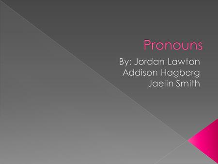 - A pronoun is a word that takes the place of a noun. - Examples: He, she, it, you, their, them, themselves, they, this, those, me, everybody, we, I,