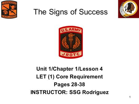 1 The Signs of Success Unit 1/Chapter 1/Lesson 4 LET (1) Core Requirement Pages 28-38 INSTRUCTOR: SSG Rodriguez.