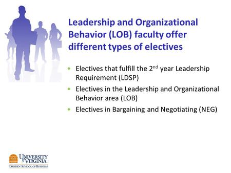 Leadership and Organizational Behavior (LOB) faculty offer different types of electives Electives that fulfill the 2 nd year Leadership Requirement (LDSP)