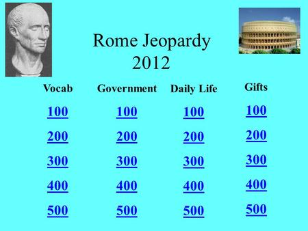 Rome Jeopardy 2012 Vocab 100 200 300 400 500 Government 100 200 300 400 500 Daily Life 100 200 300 400 500 Gifts 100 200 300 400 500.