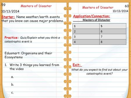 60 Masters of Disaster 10/13/2014 59 10/13/2014 Starter: Name weather/earth events that you know can cause major problems. Application/Connection: Masters.