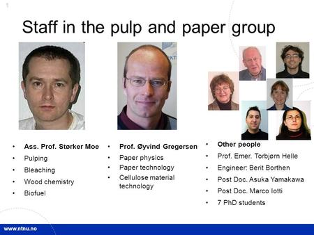 Www.ntnu.no 1 Staff in the pulp and paper group Ass. Prof. Størker Moe Pulping Bleaching Wood chemistry Biofuel Prof. Øyvind Gregersen Paper physics Paper.