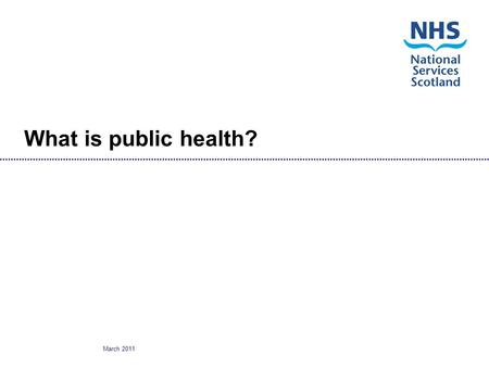 March 2011 What is public health?. March 2011 Public health What is it? Who works in or contributes to public health? How is it organised? Main functions.