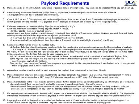 Payload Requirements 1.Payloads can be electrically & functionally active or passive, simple or complicated. They can be or do almost anything you can.