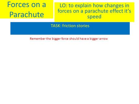Forces on a Parachute LO: to explain how changes in forces on a parachute effect it's speed TASK: friction stories Remember the bigger force should have.