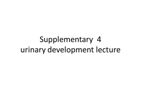Supplementary 4 urinary development lecture. 2 Pronephros beginning of the fourth week (days 22) 7 to 10 solid cell groups in the cervical region  nephrotome.