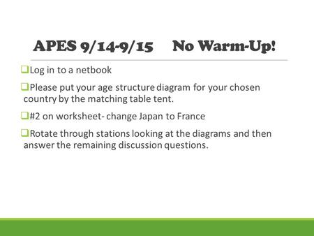 APES 9/14-9/15 No Warm-Up! Log in to  sc 1 st  SlidePlayer & Human Population : Human Population : AP Environmental Science ...