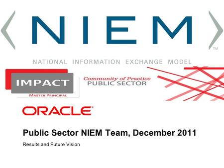Public Sector NIEM Team, December 2011 NIEM Test Model Data Deploy Requirements Build Exchange Generate Dictionary XML Exchange Development National Information.