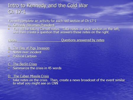 Intro to Kennedy and the Cold War Ch 17-1