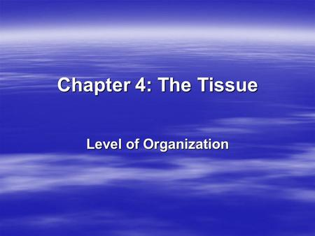 Chapter 4: The Tissue Level of Organization. There are 4 types of tissues – We will only study epithelial now.