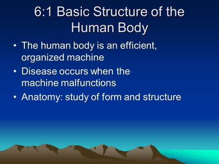 6:1 Basic Structure of the Human Body The human body is an efficient, organized machine Disease occurs when the machine malfunctions Anatomy: study of.