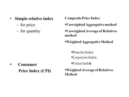 Composite Price Index  Unweighted Aggregative method  Unweighted Average of Relatives method  Weighted Aggregative Method  Paasche Index  Laspeyres.