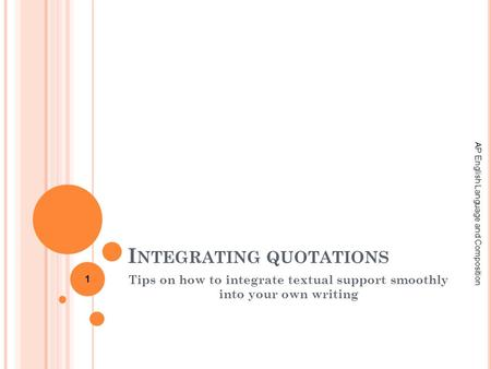 Integrating sources to support essay