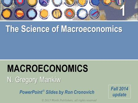 MACROECONOMICS © 2015 Worth Publishers, all rights reserved PowerPoint ® Slides by Ron Cronovich N. Gregory Mankiw Fall 2014 update The Science of Macroeconomics.