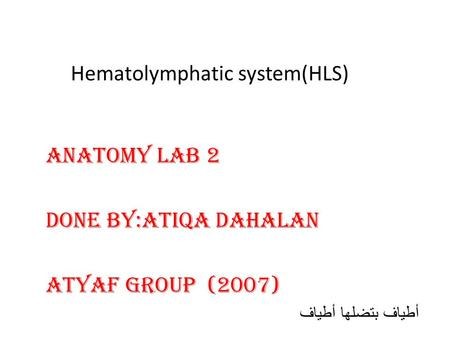 Hematolymphatic system(HLS) Anatomy Lab 2 DONE BY:Atiqa Dahalan ATYAF GROUP (2007) أطياف بتضلها أطياف.