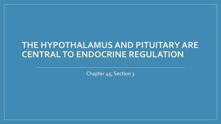 THE HYPOTHALAMUS AND PITUITARY ARE CENTRAL TO ENDOCRINE REGULATION Chapter 45, Section 3.